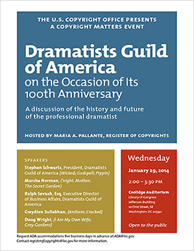 Dramatists Guild of America on the Occasion of Its 100th Anniversary